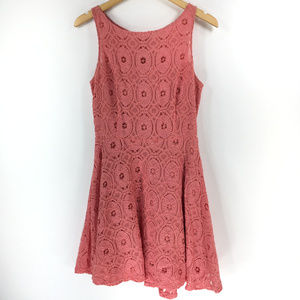 BB Dakota 6 Coral Pink Floral Crochet Sun Dress